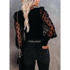 Solido Pizzo Colletto Quadrato Maniche lunghe Elegante Camicie