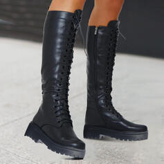Women's PU Chunky Heel Platform Martin Boots With Lace-up Solid Color shoes