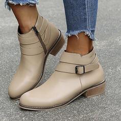 Dámské Koženka Široký podpatek Kotníkové Boty Kolem špičky S Solid Color obuv