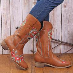 De mujer PU Tacón plano Botas Botas longitud media con Estampado flor zapatos