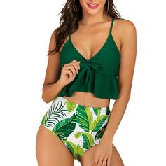 Floral Imprimeu Ruffles Curea Decolteu în V Sexy Boem Bikini Mayolar