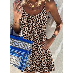 Tisk/Leopard Bezrukávů Šaty Shift Nad kolena Neformální Košilka Šaty