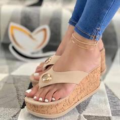 Kvinnor PU Kilklack Sandaler Plattform Kilar Peep Toe Flip Flops Tofflor Klackar med Beading Ihåliga ut skor