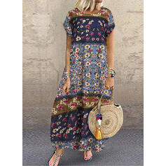 Lace/Print/Floral Short Sleeves Shift T-shirt Casual/Vacation Maxi Dresses