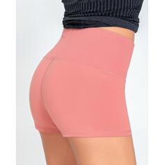 Color sólido Cintura Alta Shorts deportivos