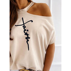 Print Figure One-Shoulder Short Sleeves Casual Blouses