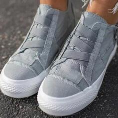 Femmes Toile Talon plat Chaussures plates avec Zip Dentelle Couleur unie chaussures