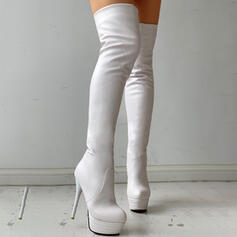 Donna PU Tacco spesso Stivali sopra il ginocchio Tacchi Punta rotonda con Colore solido scarpe