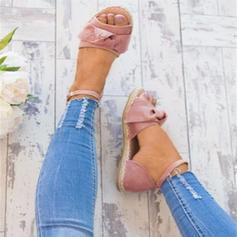 Kvinnor Konstläder Flat Heel Sandaler Platta Skor / Fritidsskor Peep Toe med Spänne skor