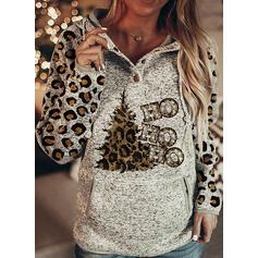 halloween Tisk Leopard Dopis Dlouhé rukávy Vánoční mikina