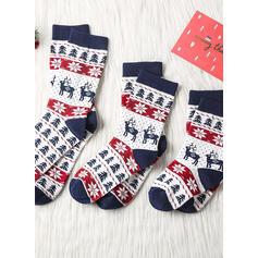 Kostkovaný/Christmas Reindeer Komfortní/Vánoce/Posádkové ponožky/Unisex Ponožky
