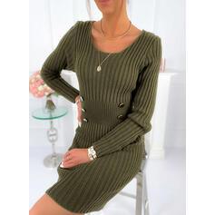 Düz / Tek (Renk) Kulatý krk Neformální Dlouhé Upnuté Svetrové šaty