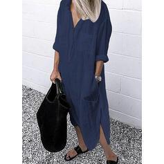 Jednolita Długie rękawy Koktajlowa Koszula Casual Maxi Sukienki