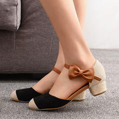 Women's Suede Chunky Heel Pumps Round Toe With Bowknot Splice Color shoes