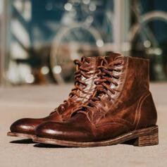 De mujer PU Tacón ancho Martin botas con Cordones Color sólido zapatos