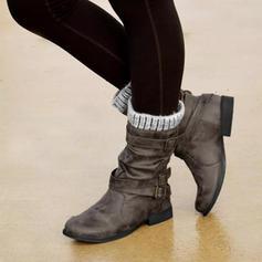 Kvinnor PU Flat Heel Stövlar Halva Vaden Stövlar Vinterkängor med Spänne skor