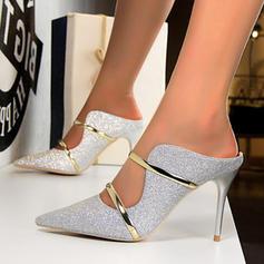 De mujer Tejido Tacón stilettos Salón Pantuflas con Lentejuelas zapatos