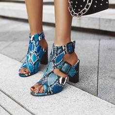 De mujer PU Tacón ancho Sandalias Encaje Solo correa con Hebilla zapatos