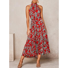 Print/Floral Sleeveless A-line Skater Casual/Elegant/Vacation Midi Dresses
