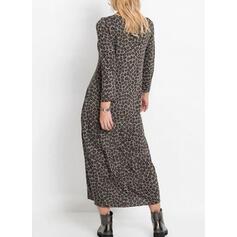 Leopard Dlouhé rukávy Splývavé Tunika Neformální Midi Šaty