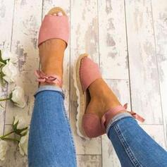 PU Tacón plano Sandalias Cuñas Encaje con Cordones zapatos
