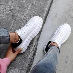 Femmes Tissu Mesh Talon plat Chaussures plates Tennis avec Dentelle Couleur d'épissure chaussures