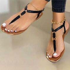 De mujer PU Tacón plano Sandalias Chancletas zapatos