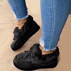 Donna Camoscio Similpelle Senza tacco Stivali alla caviglia Stivali da neve Top basso Stivali invernali con Allacciato Pelliccia Ecologica scarpe