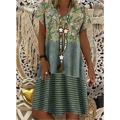 Nadrukowana/Kwiatowy/W paski Krótkie rękawy Koktajlowa Długośc do kolan Casual T-shirt Sukienki