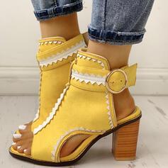 Frauen PU Stämmiger Absatz Sandalen Absatzschuhe Peep Toe Heels mit Schnalle Schuhe