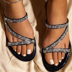 De mujer PU Tacón plano Sandalias Planos Encaje Pantuflas con Rhinestone Agujereado zapatos