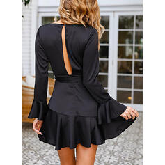 Aラインワンピース 膝上 リトルブラックドレス/エレガント ジャケット/ラップ/スケーター ドレス