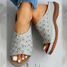 De mujer plástica Tacón plano Encaje Pantuflas con Rivet Agujereado zapatos