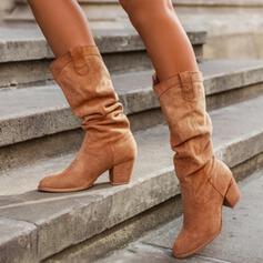 Dámské PU Široký podpatek Boty S Nabírané Solid Color obuv