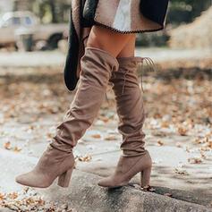 Donna Camoscio Tacco spesso Stivali sopra il ginocchio Punta a punta con Allacciato Colore solido scarpe