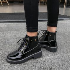 Vrouwen PU Low Heel Flat Heel Chunky Heel Anderen Laarzen Enkel Laarzen Martin Boots Hoge top Lage top Ronde neus met Vastrijgen Effen kleur schoenen