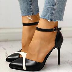 Kvinnor PU Stilettklack Pumps med Spänne skor