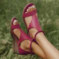De mujer Cuero Tipo de tacón Sandalias Cuñas Encaje con Hebilla zapatos