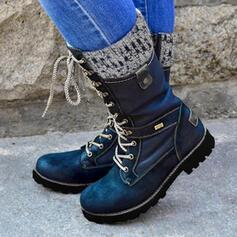 Mulheres PU Salto baixo Botas na panturrilha Martin botas com Zíper Aplicação de renda sapatos