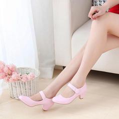 Mulheres Couro Salto robusto com Velcro sapatos