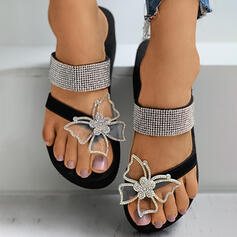 Women's Leatherette Silk Like Satin Flat Heel Sandals Flats Flip-Flops Slippers Toe Ring With Rhinestone Butterfly shoes