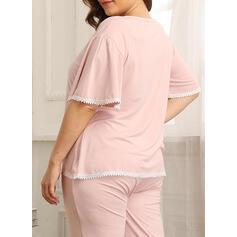 Cuello Redondo Manga Corta Color sólido Talla extra Atractivo Conjuntos de pijamas