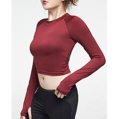 Cuello Redondo Manga Larga Color sólido Camisetas deportivas