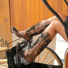 Donna Pizzo PU Tacco spesso Stivali altezza media Punta quadrata con Colore giuntura Ricamato scarpe
