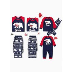 Bear Písmeno Tisk Rodinné odpovídající Vánoční pyžama
