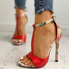 Pentru Femei Imitaţie de Piele Toc Stiletto Sandale Încălţăminte cu Toc Înalt Puţin decupat în faţă cu Cataramă pantofi