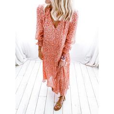 Nadrukowana/Kwiatowy Długie rękawy Koktajlowa Casual Maxi Sukienki