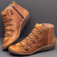 Mulheres PU Salto baixo Botas com Aplicação de renda sapatos