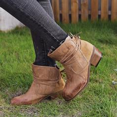 De mujer PU Tacón ancho Salón Cerrados Botas Botas al tobillo Top bajo Encaje con Cordones Color sólido zapatos