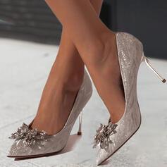 De mujer PU Tacón stilettos Salón Tacones con Rhinestone Brillo Chispeante Color sólido zapatos